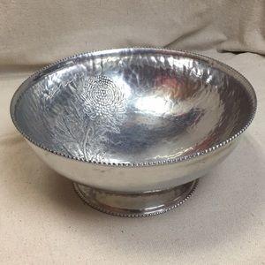 Vintage hammered metal serving bowl